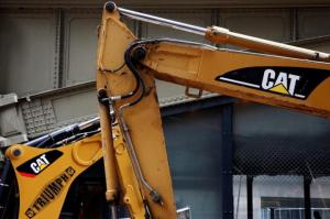 Caterpillar machines are seen at a construction site in New York