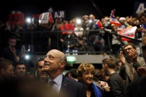 French politician Alain Juppe, current mayor of Bordeaux, a member of the conservative Les Republicains political party and candidate for the centre-right presidential primary, arrives at a rally as he campaigns in Rennes