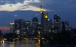 File photo of skyline of the banking district in Frankfurt