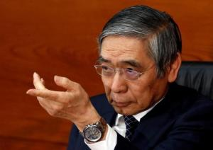 Bank of Japan Governor Haruhiko Kuroda gestures during a news conference at the BOJ headquarters in Tokyo
